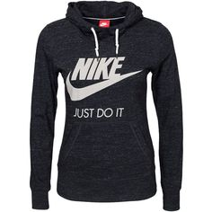 Nike Gym Vintage Hoody (115 CAD) ❤ liked on Polyvore featuring tops, hoodies, black, jumpers cardigans, womens-fashion, black hoodie, nike tops, cotton hoodie, nike hoodie and cotton hoodies