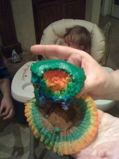 rainbow cake - great touch!