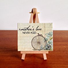 Mother's Love Quote Mini Canvas & Easel Penny Farthing Flowers Mother's Day Gift - by StudioAstratta on madeit