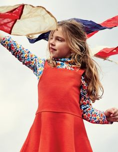 Paintbox Ditsy Cozy Turtleneck & Roseship Red Pinafore Dress | Mini Boden