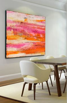 Giant Colorful abstract Painting por erinashleyart en Etsy