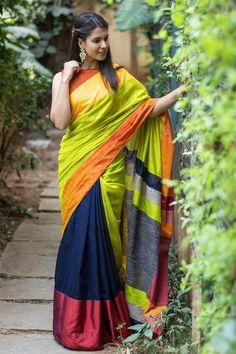 House Of Blouse- custom designed blouses and sarees online Blue Silk Saree, Indian Silk Sarees, Silk Cotton Sarees, Cotton Silk, Kerala Saree, Chiffon Saree, Cotton Saree Designs, Saree Blouse Designs, Saris