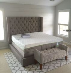 Guest creates a relaxing bedroom with our Sorinella Uph. Bed and a Tempur! #AshleyFurniture #Shiplap #Tempur #DSG