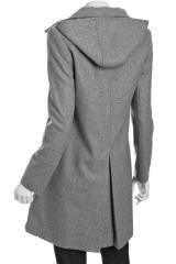 Dkny Pale Grey Wool Blend Julie Zip Front Hooded Coat in Gray (grey) - Lyst
