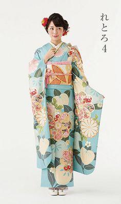 れとろ4 |キモノモード|成人式の振袖・着物のレンタル・販売専門店 Yukata Kimono, Kimono Japan, Kimono Dress, Japanese Kimono, Ethnic Fashion, Kimono Fashion, Fashion Art, Costumes Japan, Modern Kimono