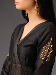 Black Chanderi Kalidar Kurta with Gold Zari Stitching Detail