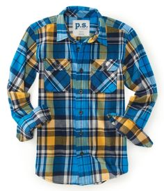 Kids' Long Sleeve Plaid Flannel Shirt, boys. $14.75