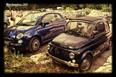 Fiat 500 - Two generations, Volterra Fiat 500, Italy, Vehicles, Car, Italia, Automobile, Rolling Stock, Vehicle, Cars