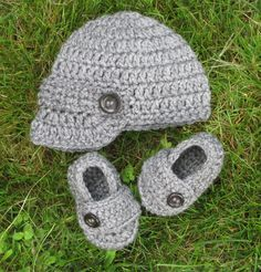 newsboy hat and loafer booties with buttons heather gray baby boy any color