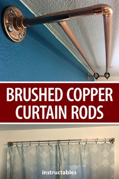 MechaNickW created these brushed copper curtain rods out of plumbing parts. #Instructables #home #decor #living #hanging Copper Curtain Rod, Curtain Rods, Building Plans, Plumbing, Blinds, Curtains, How To Plan, Projects, House