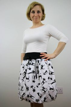 Straight skirt cat print skirt women clothing white cotton