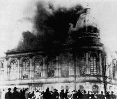 AMK - Shoah - The Holocaust Synagogue burning after krystalnacht in 1938. Hitler's thugs went through cities burning and destroying Jewish businesses and Synagogues and inciting the locals to more violence.