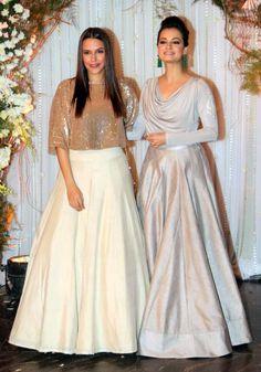 Bipasha Basu and Karan Singh Grover's Monkey Wedding and A Star-Studded Reception Indian Gowns Dresses, Pakistani Dresses, Girls Dresses, Indian Attire, Indian Outfits, Indian Reception Outfit, Stylish Dresses, Fashion Dresses, Lehnga Dress