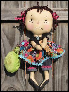 FTFD 53 - Prim Party Pooper - primitive birthday girl raggedy ann doll E-PATTERN. $6.50, via Etsy.
