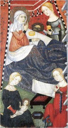 Finales del siglo XIV. Natividad de la Virgen, Jaime y Pedro Serra, Museo Nacional de Arte de Cataluña, Barcelona (detalle) end of the 14th c, birth of the virgin