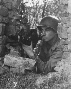 21 Sep 1944: T/3 Richard Montgomery at Brandscheid, Germany. 165th Signal Photo Company