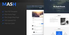 Mash - One Page PSD Template by Digitalhubintpvtltd Mash Corporate PSD Template. PSD files are well organized and named accordingly so its very easy to customize and update. Total 2