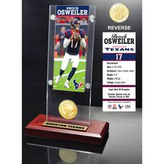"Brock Osweiler Houston Texans Highland Mint 9.5"" x 3.5"" Player Ticket Acrylic - $31.99"