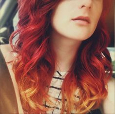 Long Orange Red Ombre Hair Colorful Hair Red Ombre