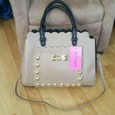 "Betsey Johnson Studded Satchel Beautiful brand new black and tan studded satchel. 10""L x 13"" Width. Betsey Johnson Bags Satchels"