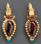 1st Century BCE Parthian Earrings. Gold, garnet and turqoise