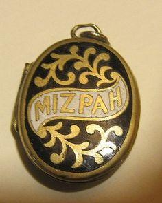 Mizpah enamel locket