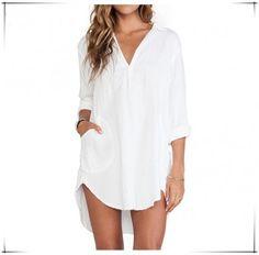 Cheapest DressesShirt Dress White Long Sleeved V Collar Sexy Skirt White