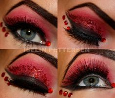 Bold red and black eye shadow with red glitter and crystals...