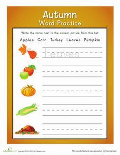 Fall Kindergarten Writing Worksheets: Autumn Writing Practice