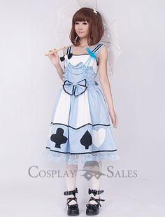 cheapWhite And Light Blue Sweet Lolita Dress