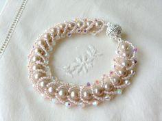 Like Robin gave me!  Pearl Bracelet Swarovski Crystal Bracelet Seed Bead Bracelet Flat Spiral Bracelet Bead Woven Bracelet Bridal Bracelet Wedding Jewelry. $42