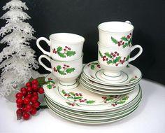 Vintage Sango White Christmas Dishes  4 by AtticDustAntiques