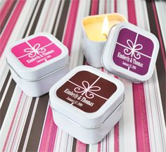 Gift box personalized square candle tins