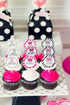 Hello Kitty BOw  Inspired Cupcake Toppers