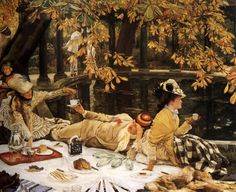 James Tissot (French, 1836–1902) Holyday, (later also known as The Picnic), c. 1876. Oil on canvas, 30 × 39.1 in (76.2 × 99.4 cm). Tate Gallery, London.
