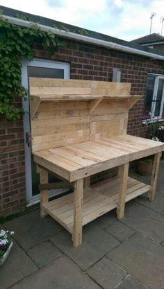 Handmade workbench made 100% from pallets !  http://www.ebay.co.uk/itm/Carpenters-Workbench-6ft-wide-Handmade-from-Reclaimed-Pallets-Backboard-shelf-/262403807186?hash=item3d187c57d2:g:0LYAAOSwKfVXHQbJ