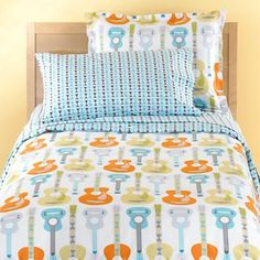 Land of Nod Kids Bedding: Kids Guitar Music Pattern Bedding Like this for a boy's room.