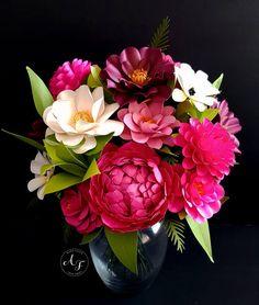 Papel hecho a mano flores - Garden Party - flores tallos sueltos - despedida de soltera - mesa - Set de 24 - por encargo