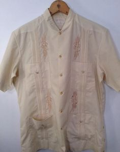 Guayaberas Camiseria Canul Hecharas Finas Mens 38 Tan Short Sleeved Shirt Mexico | eBay