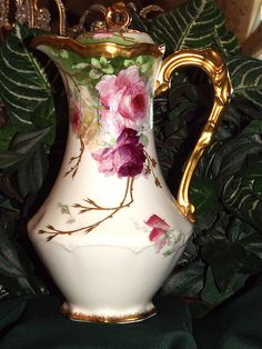 Limoges Gorgeous Chocolate Pot with Red/Pink/Yellow Rose and Gold Embellishments