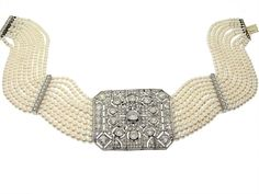 Antique Edwardian Diamond and Cultured Pearl Choker Necklace in Platinum