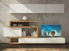 Modern Wall Unit Velvet 103 by Artigian Mobili Italy Lcd Unit Design, Tv Wall Design, Tv Unit Furniture, Home Decor Furniture, Furniture Design, Modern Tv Wall Units, Modern Wall, Tv Wall Decor, Room Decor