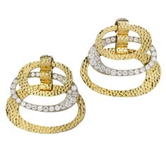 David Webb ~ The Sutton Place Earring ~ Diamonds, platinum, and hammered golds