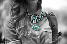 This #gems on #denim look shows the versatility of a good #statement #necklace #jewellery #streetsstyle. Get 15% off! Use #discountcode: PIN15 at the #accessoryo checkout!