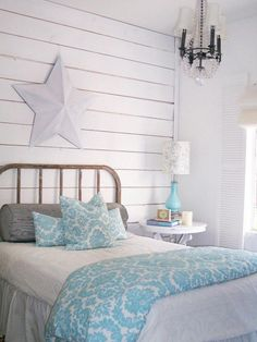 Teenage Girl Bedroom With Shabby Chic Style Decorating And Blue Accents