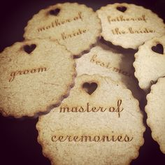 Wooden badges for bridal party and groomsmen. R20.00 each
