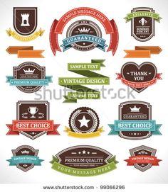 Vintage labels and ribbon retro style set. Vector design elements.