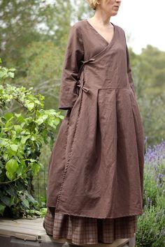 Wrap dress  Feminine Linen dress  Maternity by ShantimamaShop
