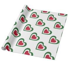 Italy/Italian Flag-inspired Hearts Wrapping Paper - wrapping paper custom diy cyo personalize unique present gift idea