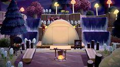 Hidden away campsite Animal Crossing Wild World, Animal Crossing Guide, Animal Crossing Villagers, Animal Crossing Qr Codes Clothes, Campsite Decorating, Ac New Leaf, Motifs Animal, Island Design, Layout Design